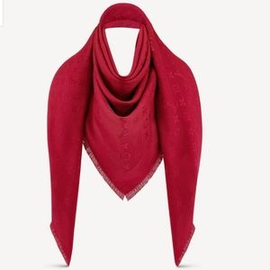 NEW UNUSED LOUIS VUITTON LV RED SHAWL